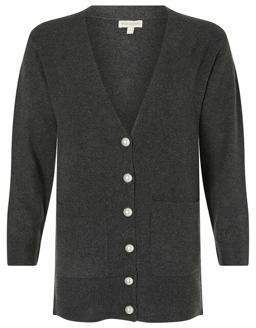 Pearly Button Knit Cardigan, Grey (CHARCOAL), large
