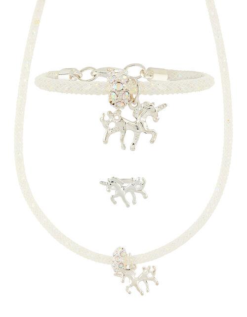 Sparkle Encased Unicorn Necklace, Bracelet And Ring Set, , large