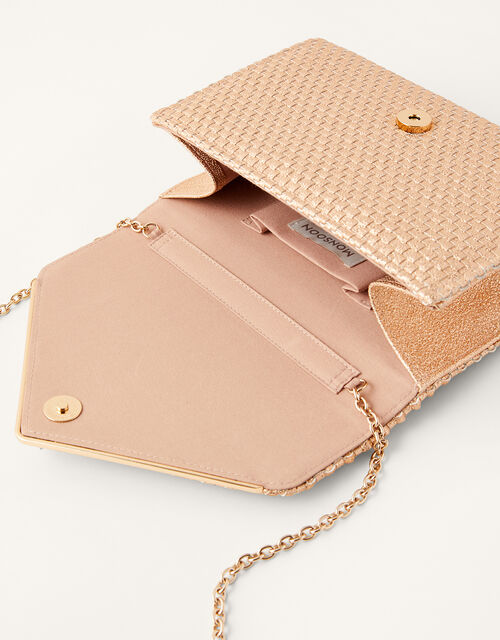 Woven Metallic Envelope Clutch, , large
