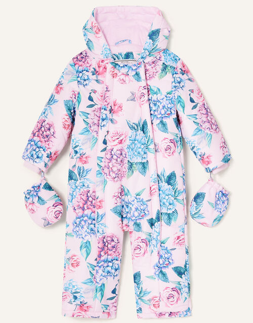 Baby Floral Padded Pramsuit, Pink (PALE PINK), large