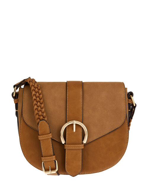 Buckle Cross-Body Saddle Bag, , large