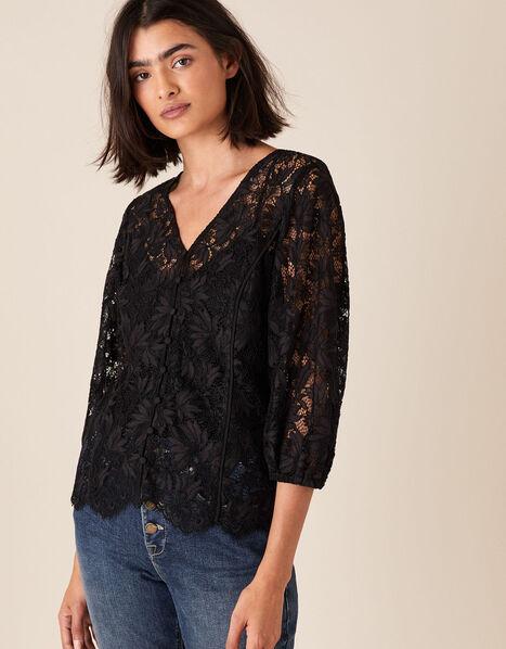Floral Lace Button-Down Top Black, Black (BLACK), large