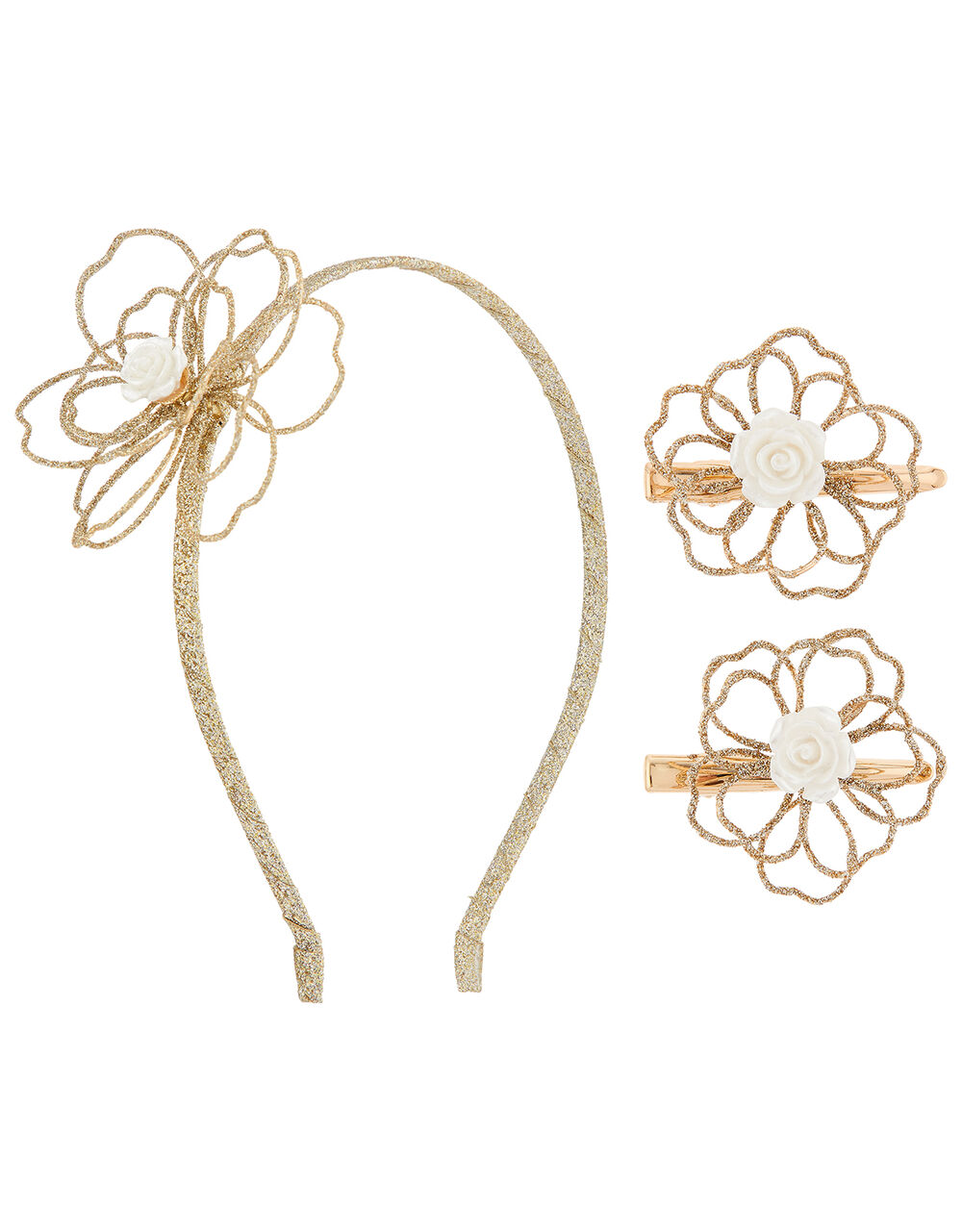 Amelia Glitter Flower Hair Accessory Set, , large