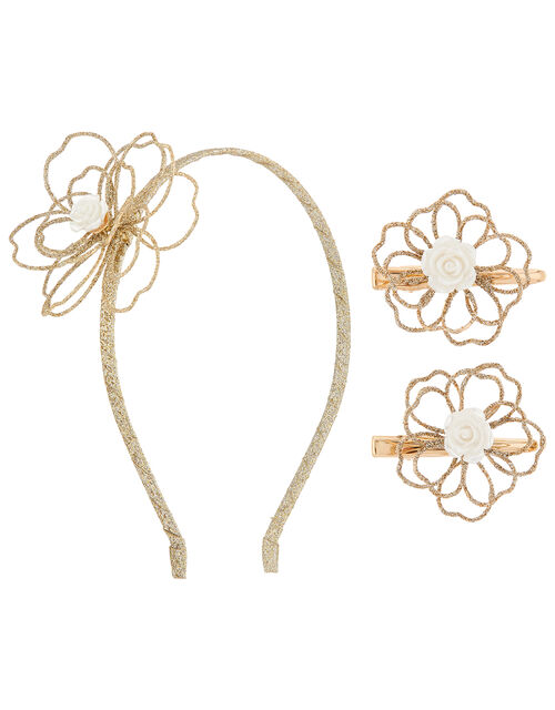 Amelia Glitter Flower Hair Accessory Set, , large