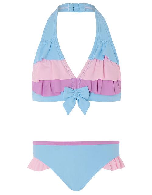 Colour-Block Frill Bikini Set, Blue (BLUE), large
