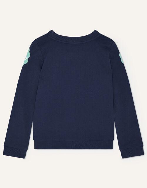 Owl Applique Embellished Sweatshirt, Blue (NAVY), large