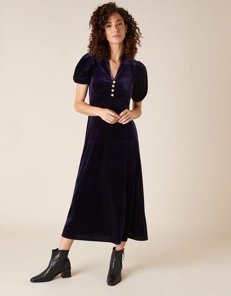 Veronique Crystal Button Velvet Shirt Dress Purple, Purple (PLUM), large