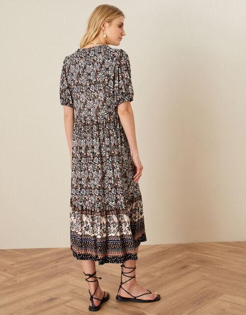 Heritage Print Midi Dress, Black (BLACK), large