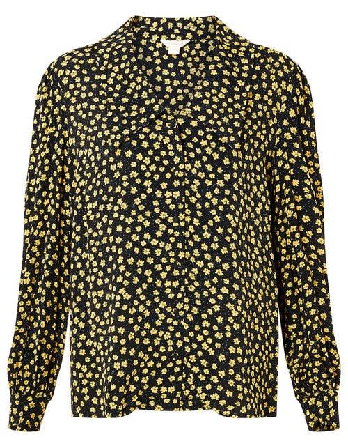 Floral Print Blouse with LENZING™ ECOVERO™, Black (BLACK), large