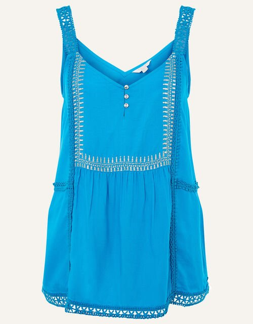Embroidered Lace Cami, Teal (TEAL), large