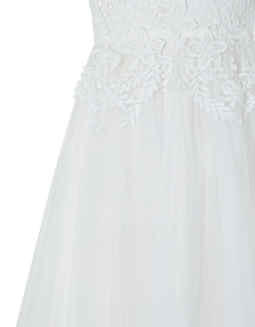 Milla Floral Crochet Lace Dress with Tulle Skirt, Ivory (IVORY), large