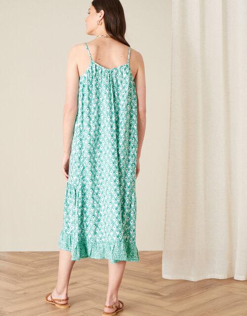 Printed Ruffle Midi Dress, Green (GREEN), large