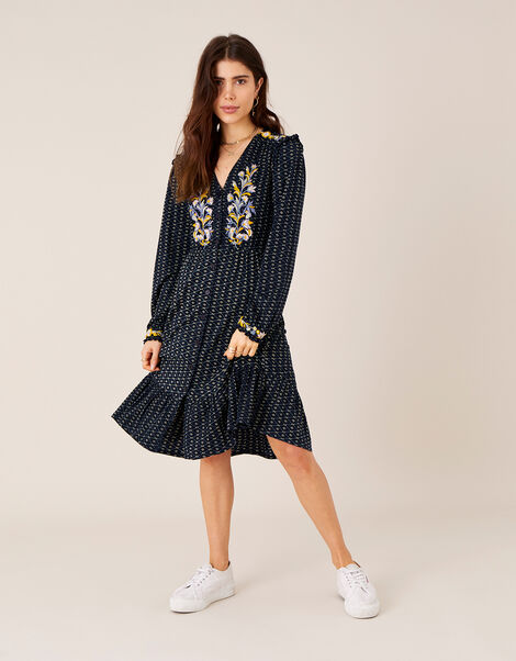 Ginny Geo Print Embroidered Midi Dress Blue, Blue (NAVY), large