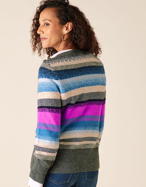 Button Shoulder Stripe Knit Jumper, Blue (BLUE), large