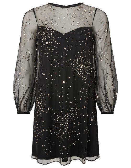 Stefania Embellished Star Tunic Dress, Black (BLACK), large