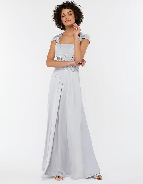 Natasha Jersey Maxi Multiway Bridesmaid Dress, Silver (SILVER), large