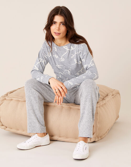 Lisa Love Print Jersey Top , Grey (CHARCOAL), large