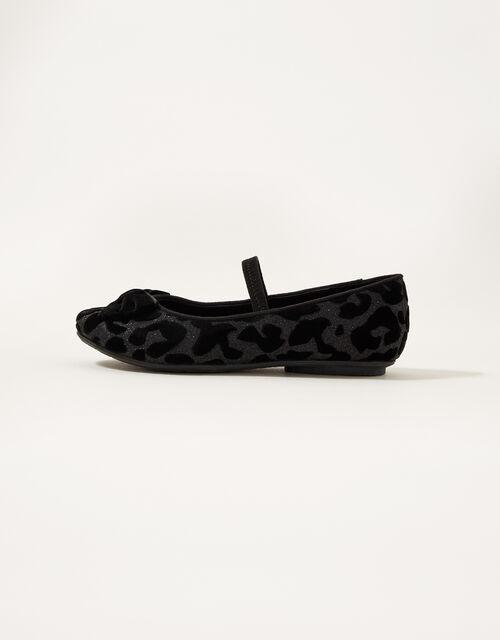 Animal Velvet Ballerina Flats, Black (BLACK), large