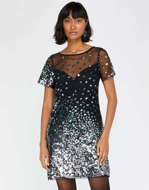 Sasha Sequin Animal Tunic Dress, Black, large