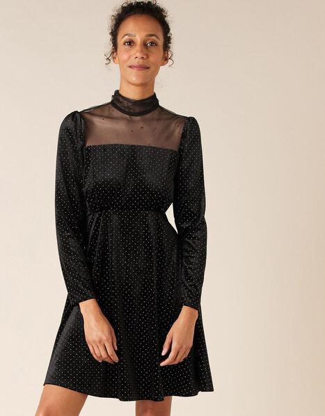 Mia Heat-Seal Gem Short Dress Black, Black (BLACK), large