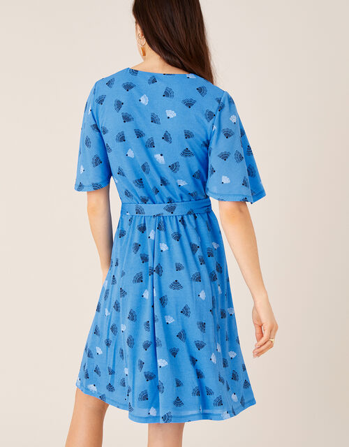 Nancy Printed Tie Belt Short Dress, Blue (BLUE), large