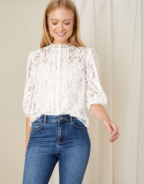 Puff Sleeve Lace Blouse, Ivory (IVORY), large