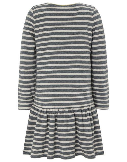 Zebra Sequin Stripe Sweat Dress in Organic Cotton, Grey (GREY), large