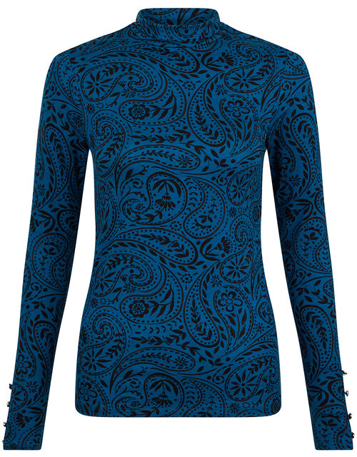 Paisley Jersey Polo Top with LENZING™ ECOVERO™, Teal (TEAL), large