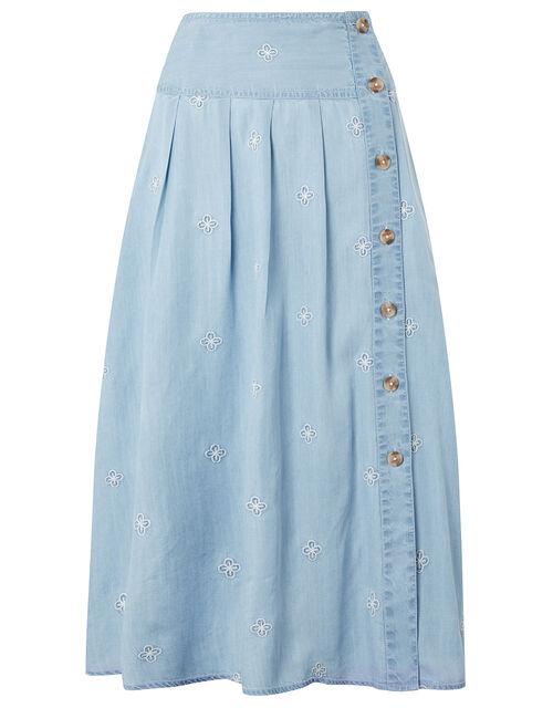 Elsie Floral Embroidery Skirt in LENZING™ TENCEL™, Blue (DENIM BLUE), large