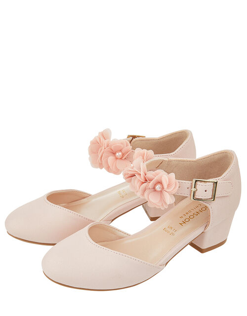Macaroon Pink Two Part Floral Shoe, Pink (PALE PINK), large