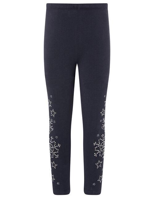 Embellished Snowflake Leggings, Blue (NAVY), large