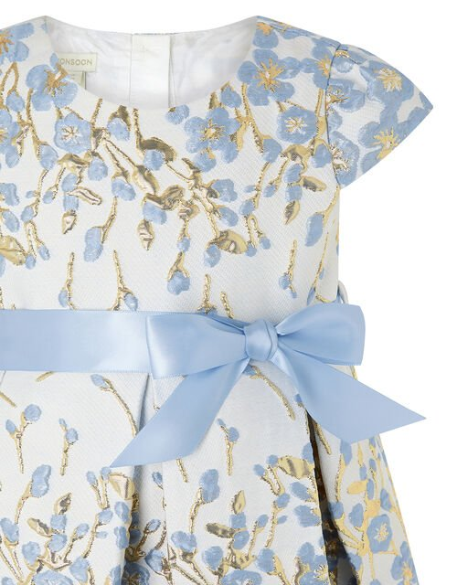 Baby Petal Jacquard Occasion Dress, Blue (BLUE), large