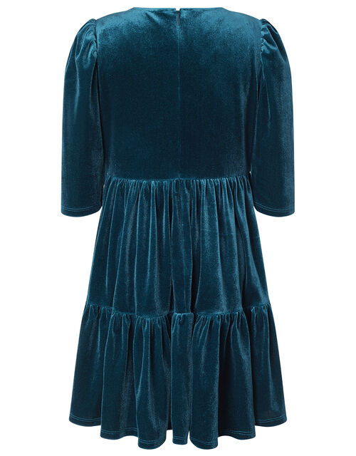 Tiered Velvet Dress with Recycled Fabric, Teal (TEAL), large