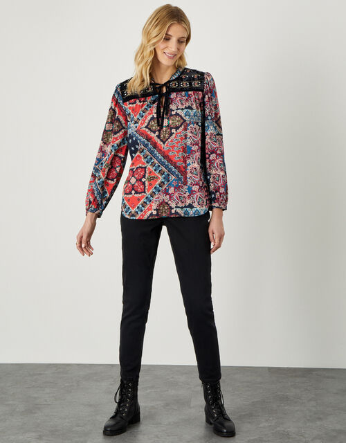 Patch Print Velvet Trim Top, Red (RED), large