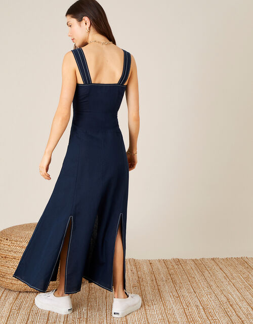 Contrast Stitch Dress in Linen Blend  , Blue (NAVY), large