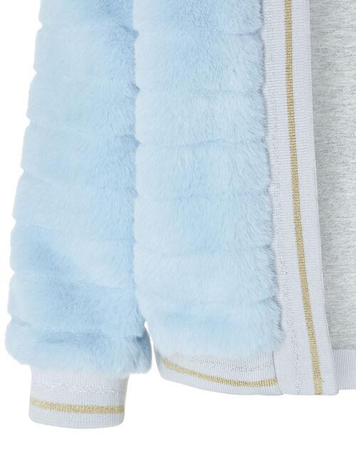Faux Fur Bomber Jacket, Blue (BLUE), large