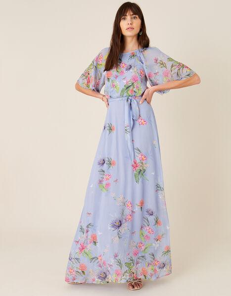 Esmee Floral Maxi Dress Blue, Blue (BLUE), large