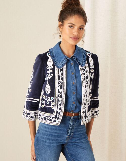 Embroidered Velvet Jacket, Blue (NAVY), large