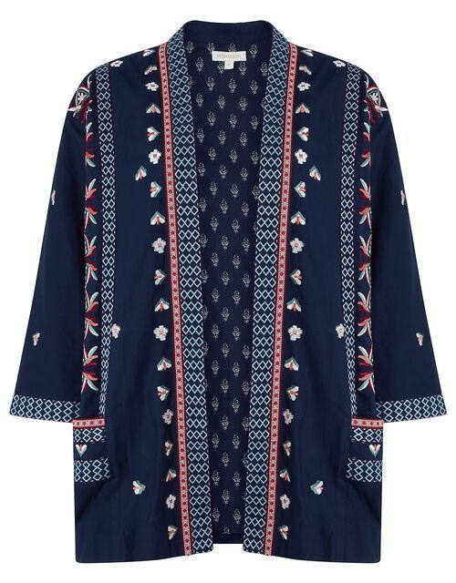 Lulu Embroidered Kimono in LENZING™ ECOVERO™, Blue (NAVY), large