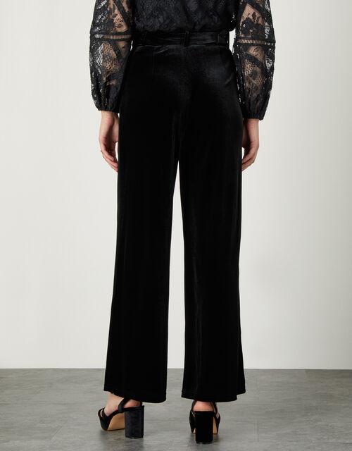 Willow Wide Leg Velvet Trouser, Black (BLACK), large