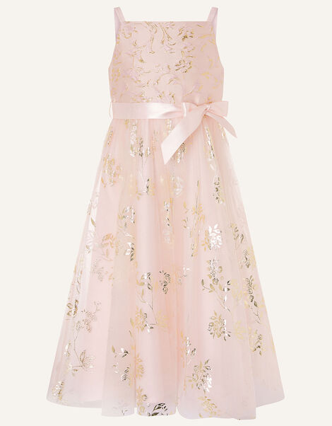 Foil Print Jacquard Maxi Dress  Pink, Pink (PINK), large
