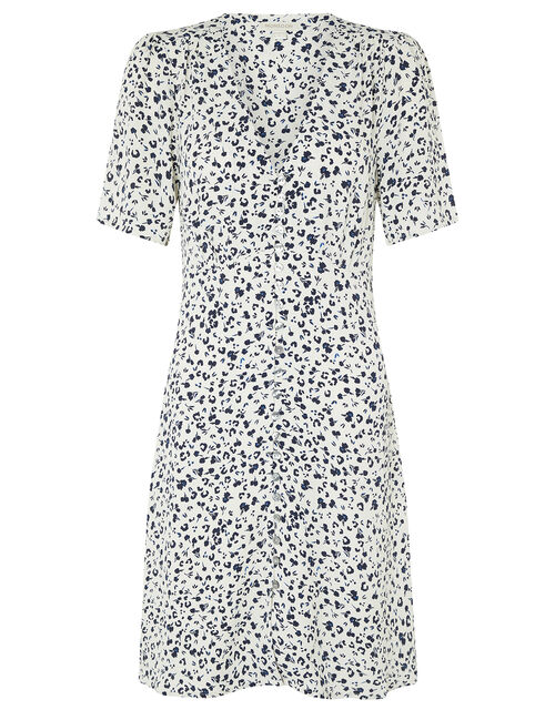 Poppy Floral Tea Dress in Sustainable Viscose, Ivory (IVORY), large