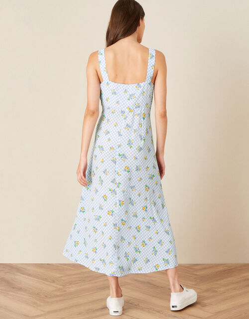 Gabriella Gingham Floral Dress, Blue (BLUE), large