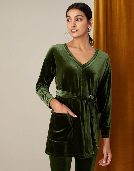 Belted Longline Velvet Top Green, Green (OLIVE), large