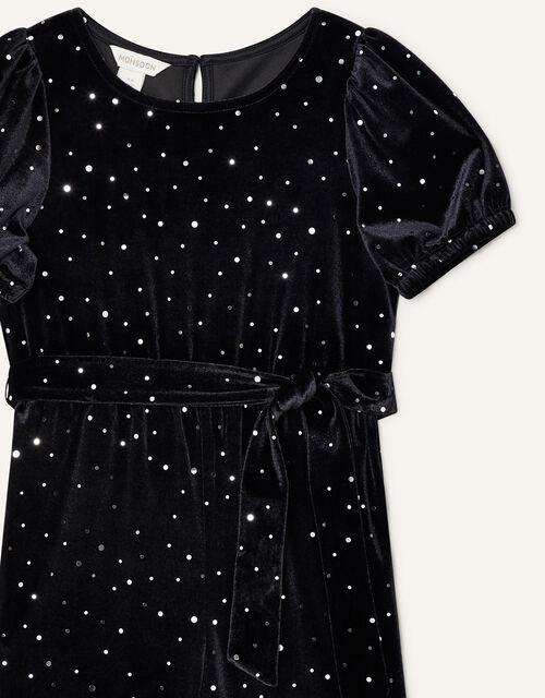Spot Velvet Jumpsuit, Black (BLACK), large