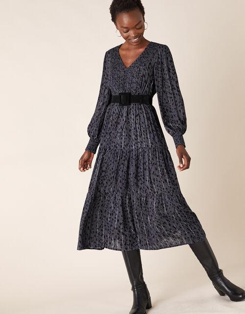 Animal Shirred Midi Dress, Grey (GREY), large