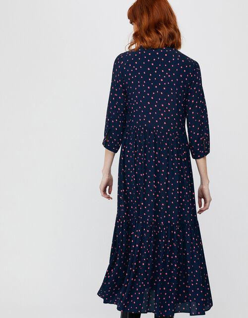 Tilda Tiered Spot Print Midi Dress, Navy, large