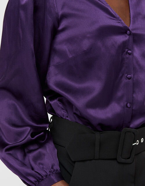 Violet Tie Neck Blouse in Silk Blend, Purple, large