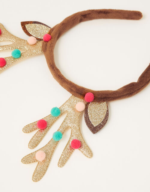 Pom-Pom Reindeer Glitter Headband , , large
