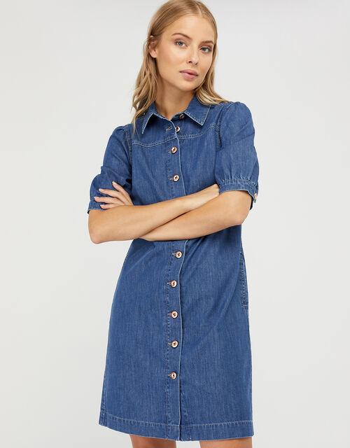 Denim Shirt Dress in Organic Cotton, Blue (DENIM BLUE), large